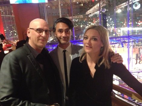 Oren Moverman, Taika Waititi and Lucy Walker backstage at the Berlinale before announcing the winners.