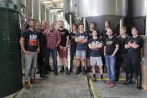 Taika with the Tuatara Brewery team.