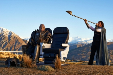 An Orc tests out Air New Zealand's new Premium Economy seat.