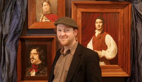 BLOOD ON THE WALLS: Napier artist Freeman White unveils his three paintings of What We Do In the Shadows directors and actors Jemaine Clement, Taika Waititi and Jonathan Brugh at the New Zealand Portrait Gallery.