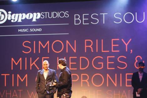 Simon Riley, Mike Hedges and Tim Chaproniere win Best Sound Award for What We Do in the Shadows