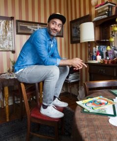 At work: Taika Waititi at Arthur's, where he goes with his laptop. ROSS GIBLIN/FAIRFAX NZ